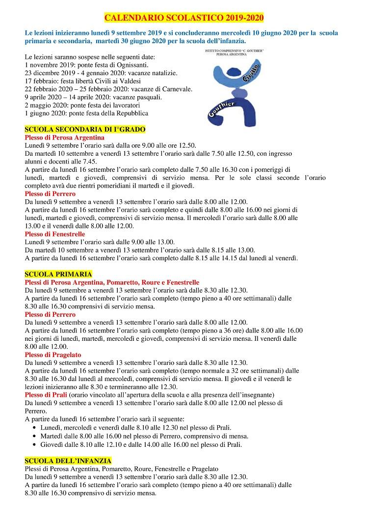 Calendario Di Maggio 2020.Calendario Scolastico 2019 2020 Pomaretto
